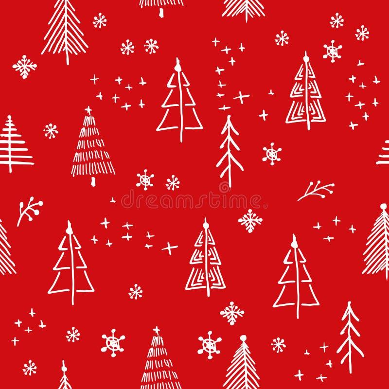 Поженитесь картина рождества и рождественской елки, графики рук-чертежа вектора иллюстрация вектора