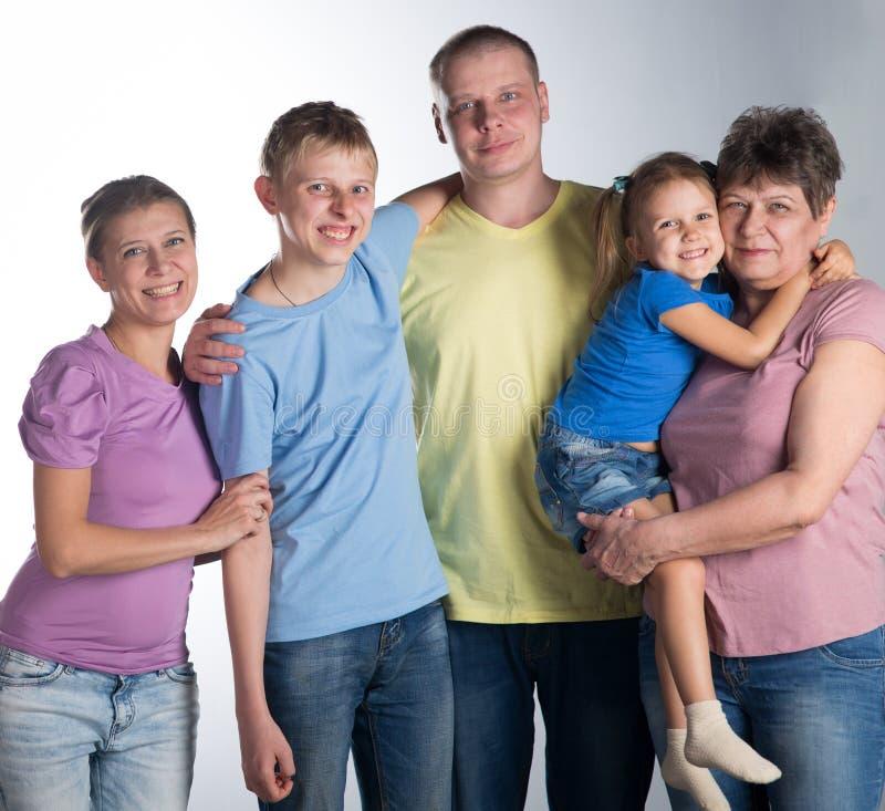 Большая семья в студии стоковое фото rf