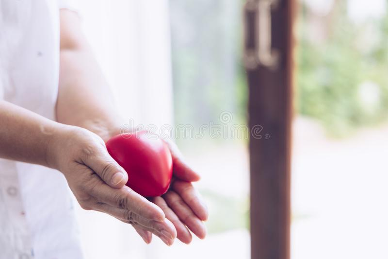 Пожилая рука с раной нося красное сердце азиатская пожилая женщина держа красную форму сердца стоковая фотография