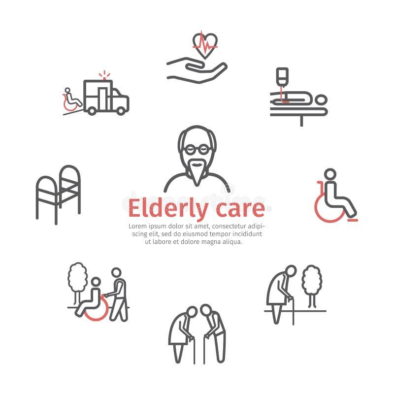 Пожилое знамя обслуживаний Линия установленные значки Помощь и доступность заботы Люди с ограниченными возможностями также вектор иллюстрация вектора