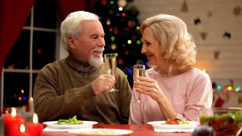 Пожилое шампанское супруга и жены выпивая на кануне Xmas, светах дерева сверкная стоковое изображение
