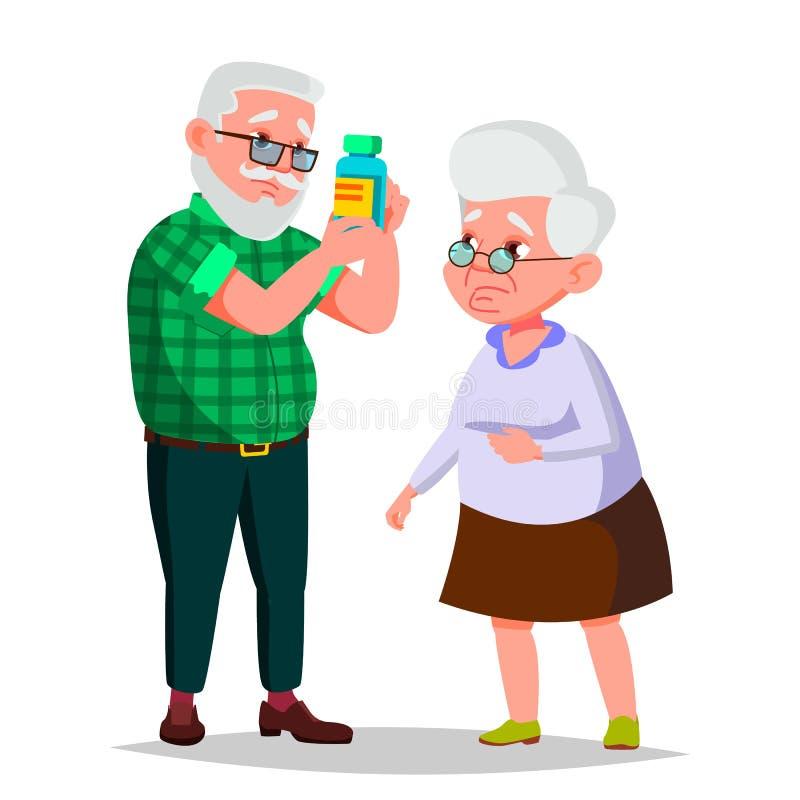 Пожилой вектор пар Дед и бабушка ситуации Старые старшие люди европейско Изолированный плоский шарж иллюстрация вектора