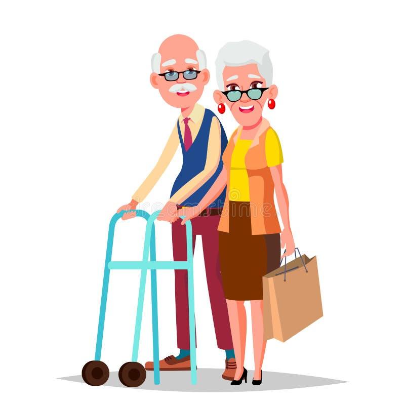 Пожилой вектор пар Современные деды пожилая семья Седые характеры европейско Изолированный плоский шарж бесплатная иллюстрация