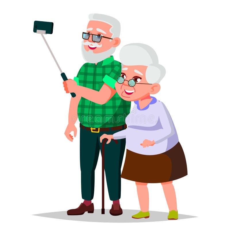 Пожилой вектор пар Grandpa с бабушкой иллюстрация принципиальной схемы 3d представила social Старшие пары европейско Изолированны иллюстрация штока