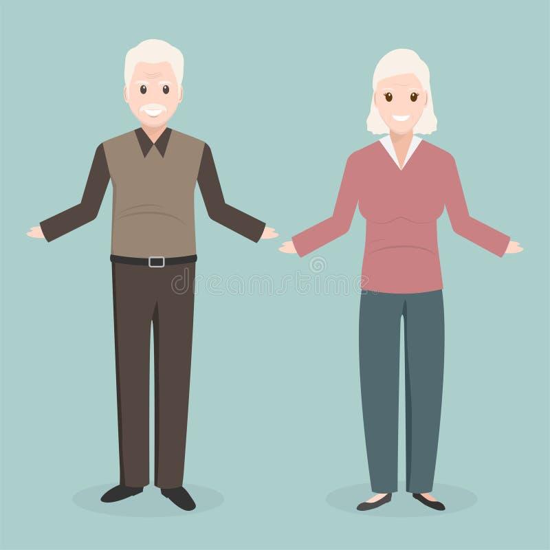 Пожилой значок человека и женщины, концепция хороших здоровий иллюстрация штока