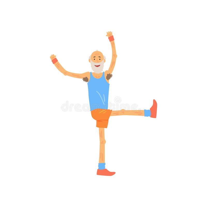 Пожилой мужчина при счастливое выражение стороны делая тренировку гимнастики Бородатый дед в одеждах спорта физическо