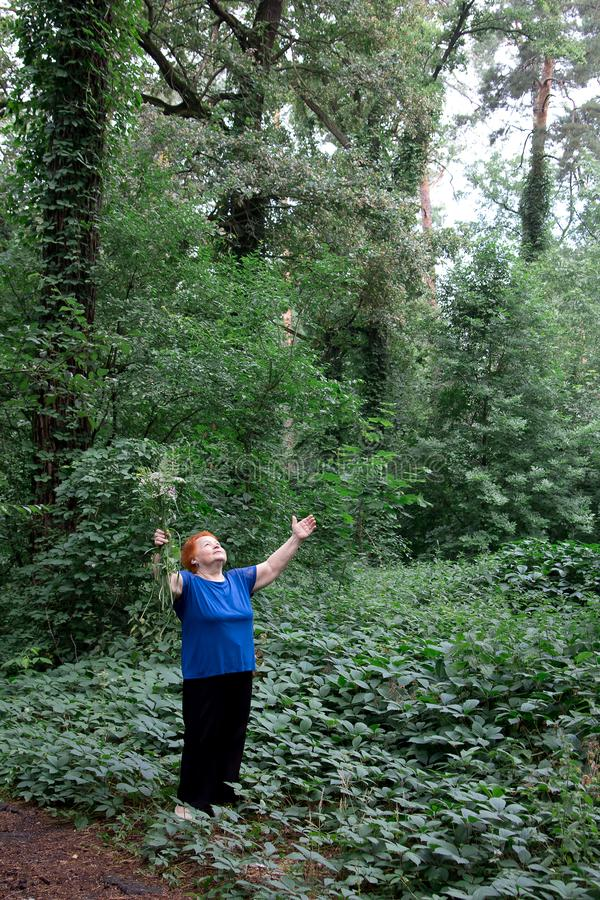 Пожилой парк женщины цветет meditatio природы зеленого цвета букета рук стоковые изображения rf