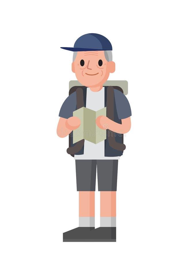 Пожилой туристский дед с рюкзаком путешествует Стоящий старший человек иллюстрация вектора