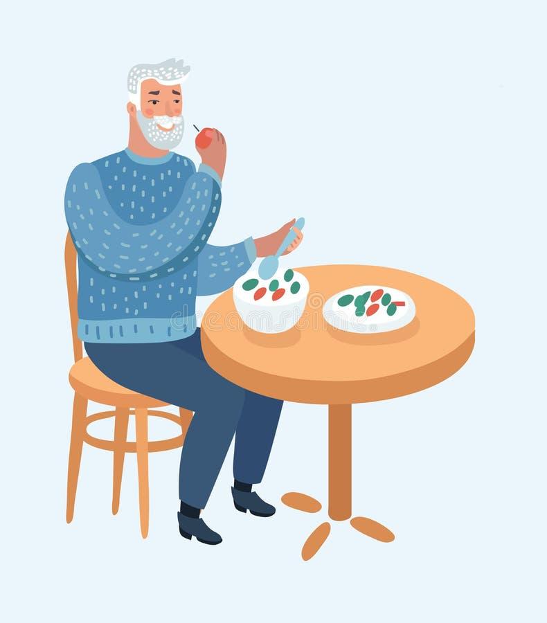 Пожилой человек ест на таблице иллюстрация вектора
