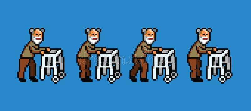 Пожилой человек с анимацией цикла стиля искусства пиксела ходока идя иллюстрация штока
