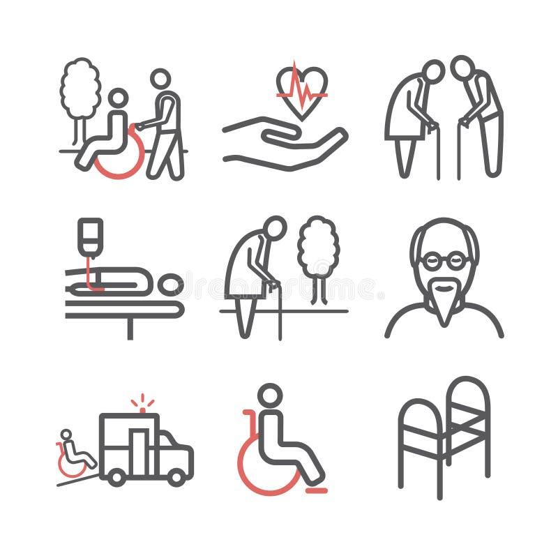 Пожилые обслуживания выравнивают набор значков Помощь и доступность заботы Люди с ограниченными возможностями также вектор иллюст бесплатная иллюстрация