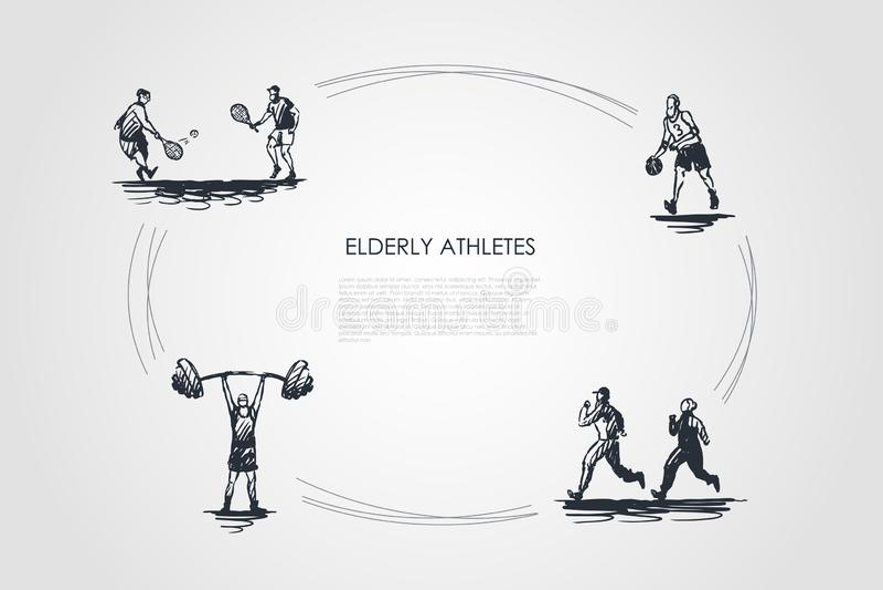 Пожилые спортсмены - старые люди jogging, игра тенниса, футбол и делать набор концепции вектора тренировок иллюстрация вектора
