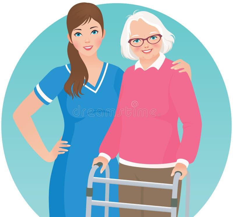 Пожилой пациент и медсестра бесплатная иллюстрация
