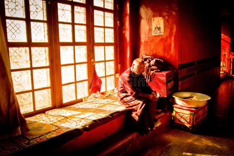 Пожилой тибетский буддийский монах, Лхаса, Тибет стоковое фото rf