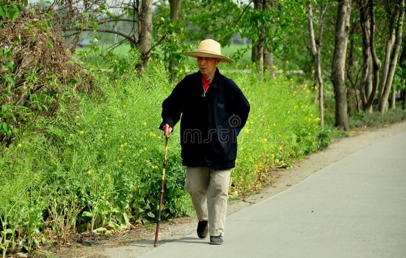 Pengzhou, Китай: Пожилой человек гуляя с тросточкой стоковые фото