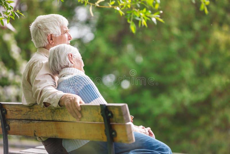 Пожилые пары отдыхая в парке стоковая фотография rf