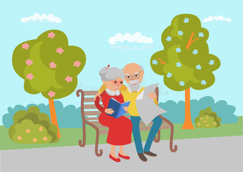 Пожилые прочитанные пары сидя на скамейке в парке и Иллюстрация вектора в плоском стиле бесплатная иллюстрация