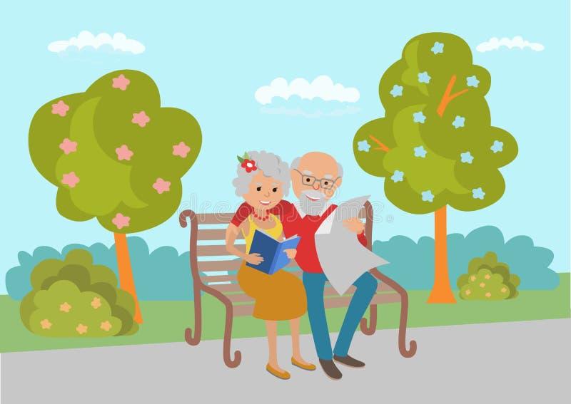 Пожилые прочитанные пары сидя на скамейке в парке и Иллюстрация вектора в плоском стиле иллюстрация штока