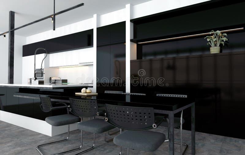 Позавтракайте или ел nook в современной кухне бесплатная иллюстрация