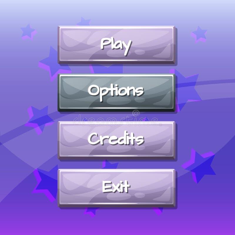 Позволенные стиля шаржа вектора волнистые и выведенные из строя кнопки иллюстрация штока