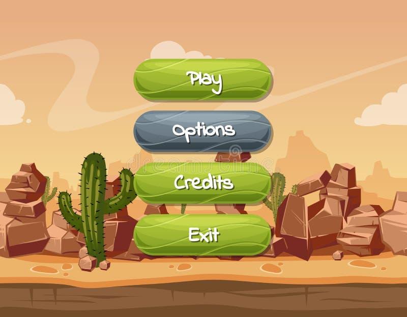 Позволенные стиля шаржа вектора волнистые и выведенные из строя кнопки с текстом для игрового дизайна на оранжевых утесах, небе и бесплатная иллюстрация