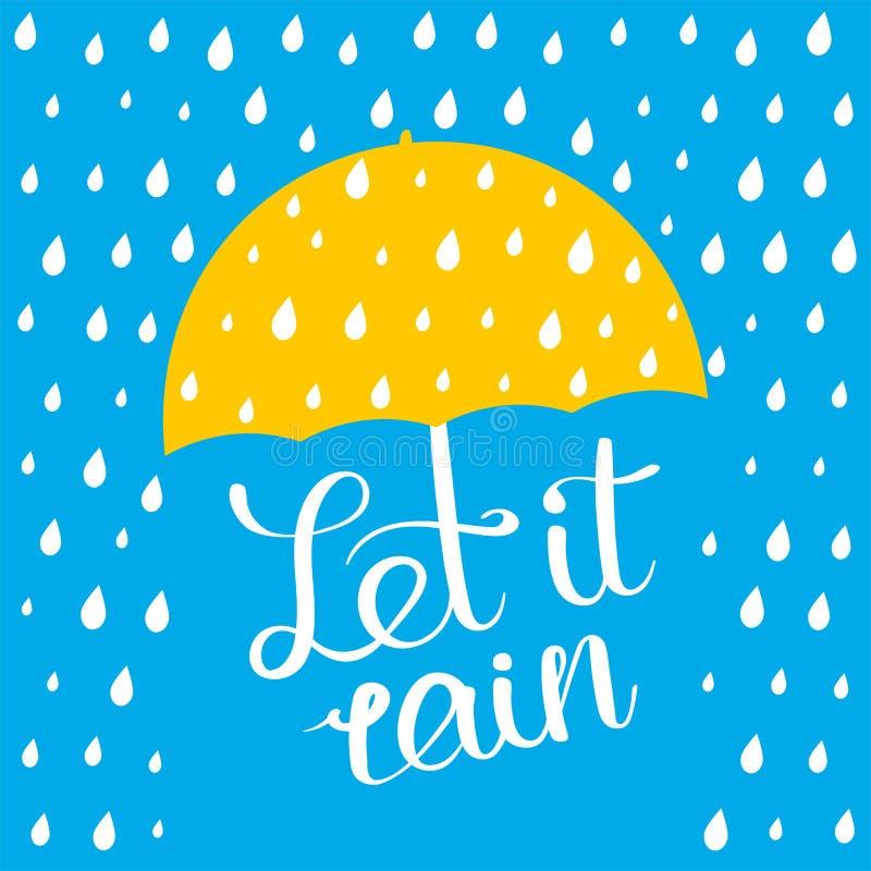 Позволенный ему идти дождь плакат иллюстрация штока