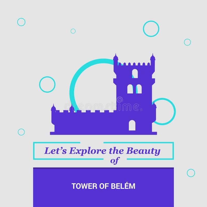 """Позволенный \ """"s исследуйте красоту башни Belem Лиссабона, Португалии Nati иллюстрация вектора"""
