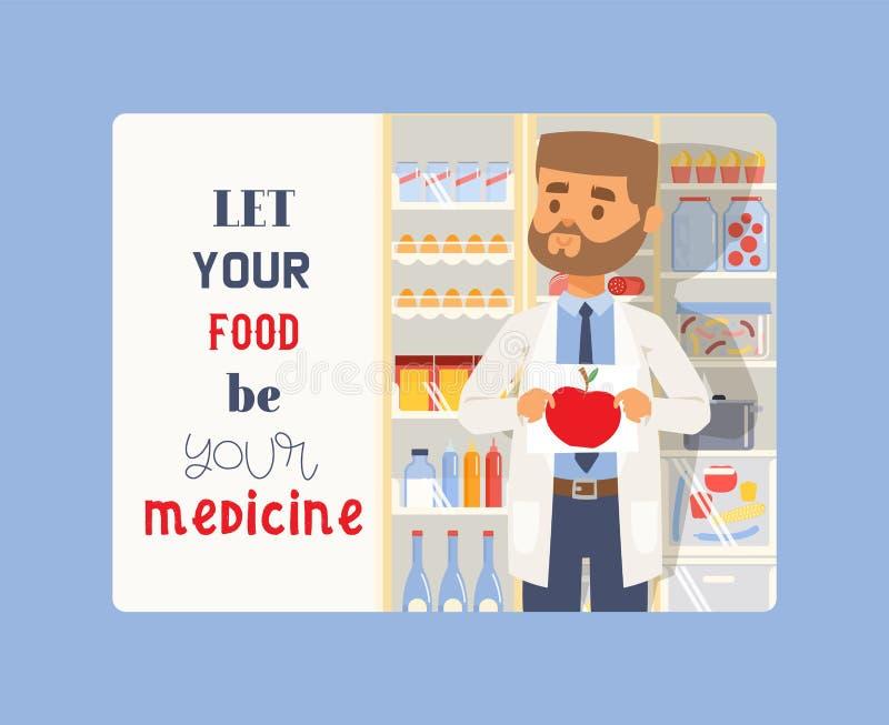 Позвольте вашей еде быть вашим знаменем медицины Изображение удерживания человека медицины aon яблока или предпосылки таблеток Ме бесплатная иллюстрация