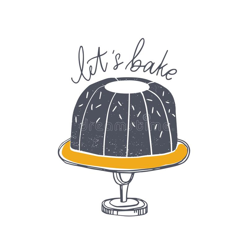 Позвольте нам испечь мотивационный лозунг рукописный с cursive каллиграфическими шрифтом и пирогом на стойке торта Элегантный пом иллюстрация штока