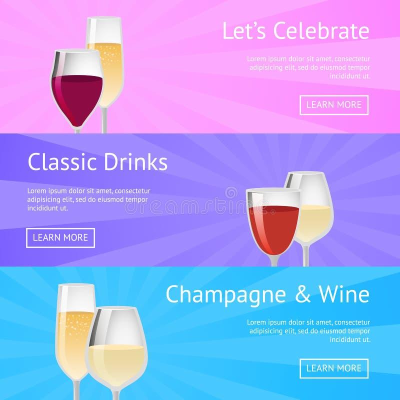 Позвольте нам отпраздновать классические значки вина Шампань напитка иллюстрация вектора