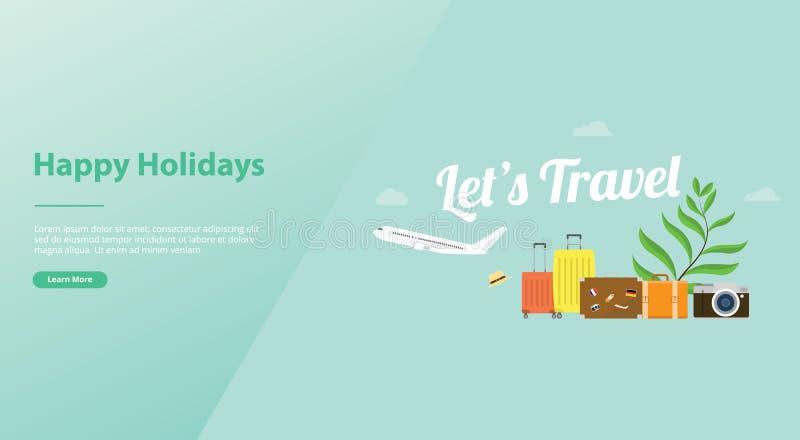 Позволяет концепции перемещения или плаката праздника с сумкой самолета и багажа и большому тексту для шаблона вебсайта или призе иллюстрация штока