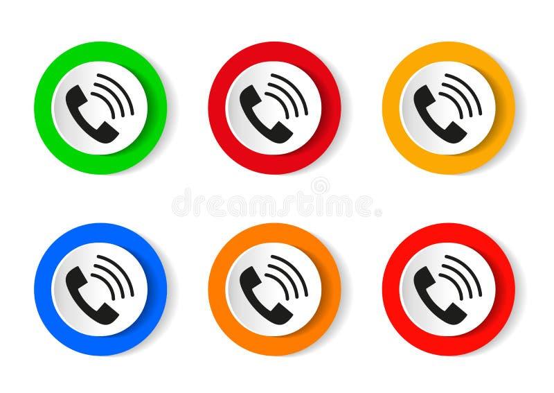 Позвоните по телефону значку в ультрамодном плоском стиле изолированному на белой предпосылке Значок телефонной трубки с волнами иллюстрация вектора