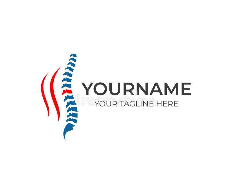 Позвоночник и шаблон логотипа backache Медицинские диагностический центр, обработка и забота за вектором позвоночника конструирую бесплатная иллюстрация