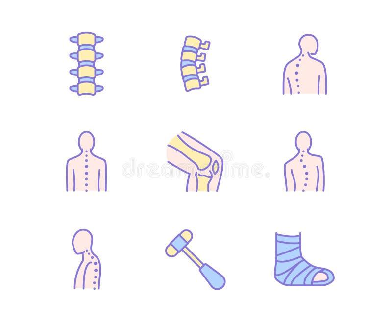 Позвоночник, линия значки костяка Клиника Orthopedics, медицинская реабилитация, задняя травма, сломанная косточка, коррекция поз иллюстрация штока