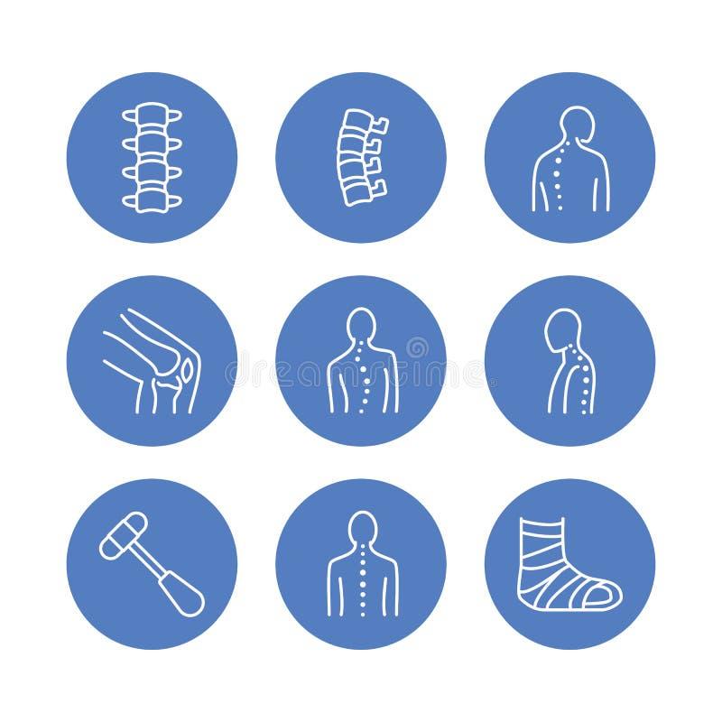 Позвоночник, линия значки костяка Клиника Orthopedics, медицинская реабилитация, задняя травма, сломанная косточка, сколиоз корре бесплатная иллюстрация