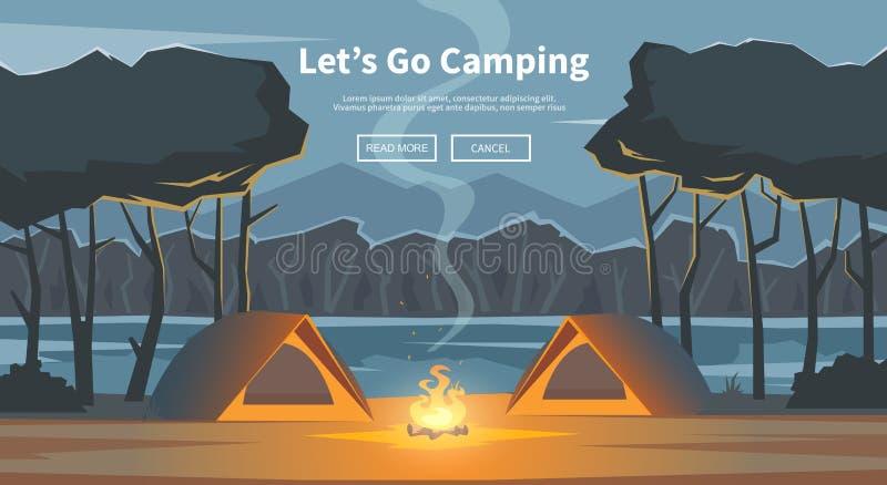 Позвольте ` s пойти расположиться лагерем также вектор иллюстрации притяжки corel иллюстрация штока
