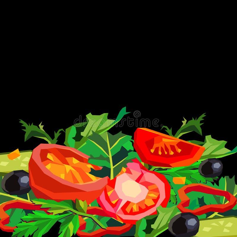 Позвольте ` s сделать салат! вегетарианец здорового томата еды салата органический vegetable иллюстрация штока
