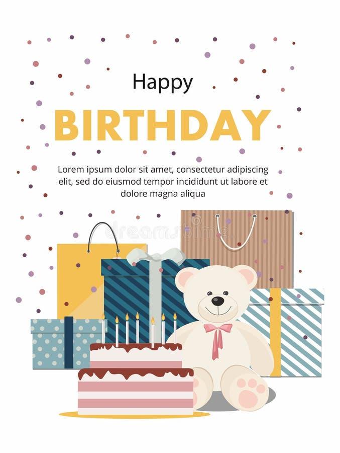 Поздравительая открытка ко дню рождения при плюшевый медвежонок, торт, подарки и confetti изолированные на белой предпосылке иллюстрация вектора