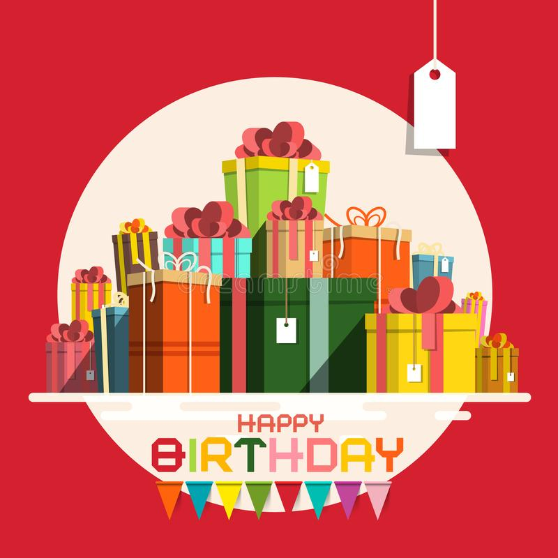 Поздравительая открытка ко дню рождения с днем рождений с бумажной кучей подарочных коробок иллюстрация штока