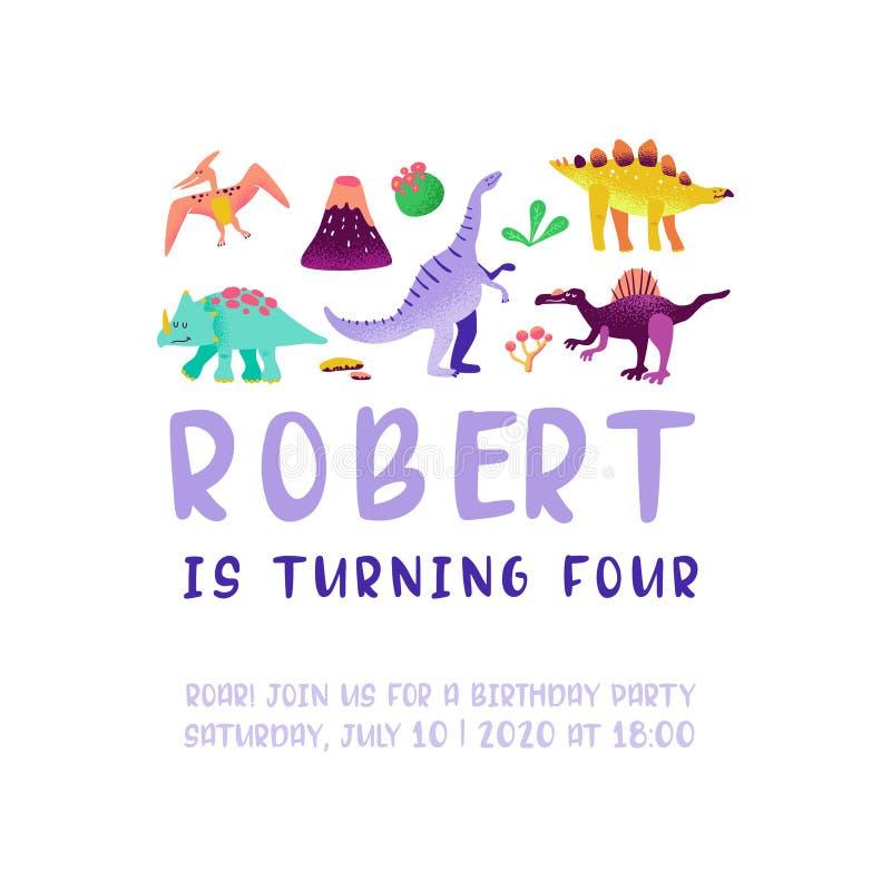Поздравительая открытка ко дню рождения с днем рождений с динозавром потехи, объявлением прибытия Dino, иллюстрацией приветствиям иллюстрация штока