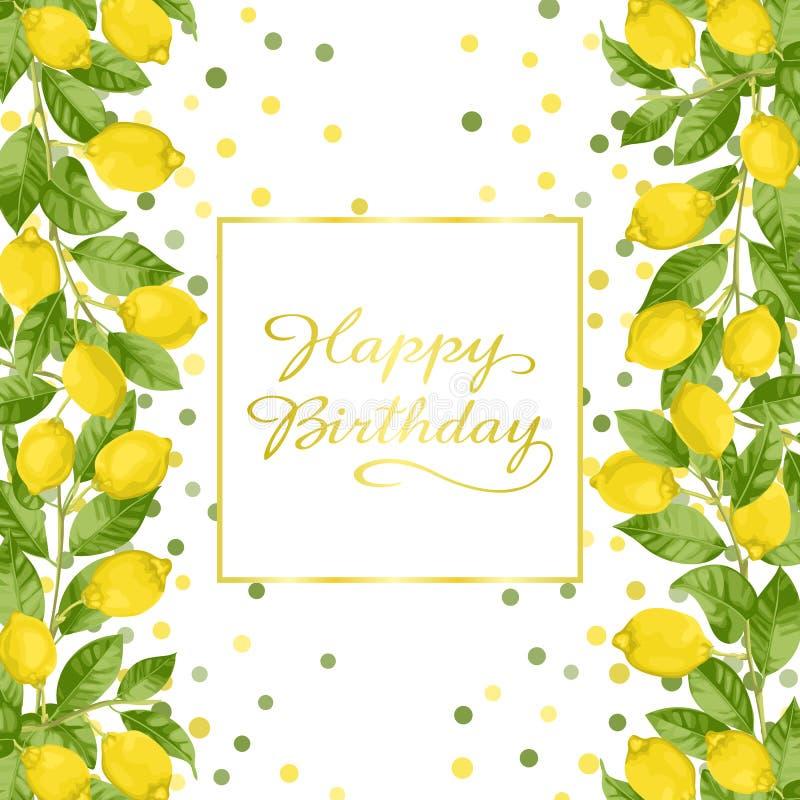Поздравительая открытка ко дню рождения с днем рождений с завтрак-обедами лимона бесплатная иллюстрация