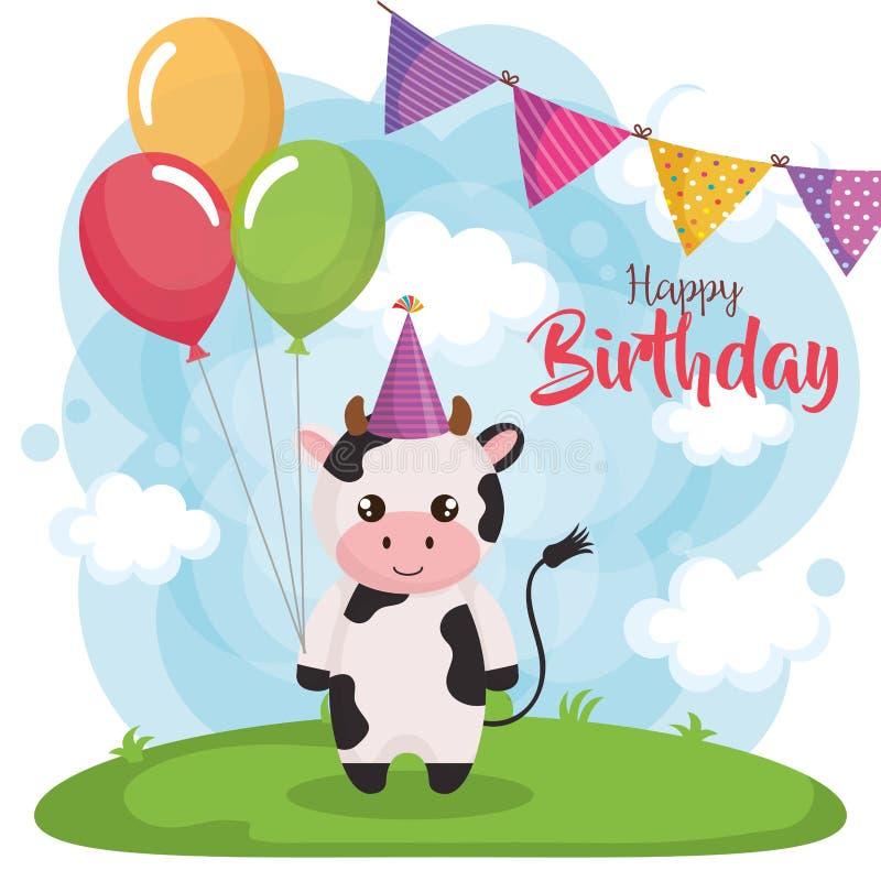 Поздравительая открытка ко дню рождения с днем рождений с коровой иллюстрация вектора
