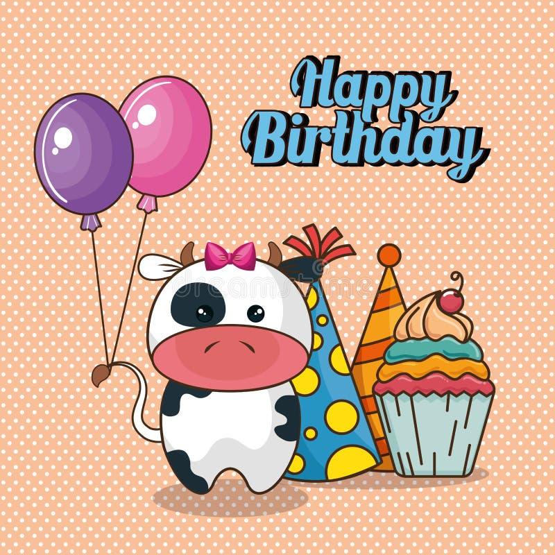 Поздравительая открытка ко дню рождения с днем рождений с милой коровой иллюстрация штока