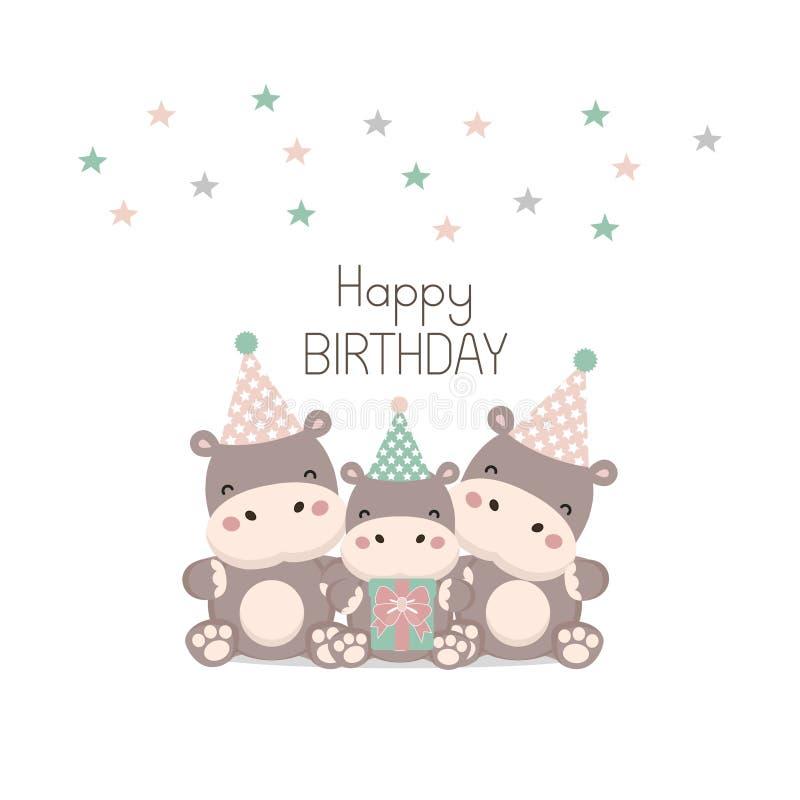 Поздравительая открытка ко дню рождения с днем рождений с милым мультфильмом бегемота бесплатная иллюстрация