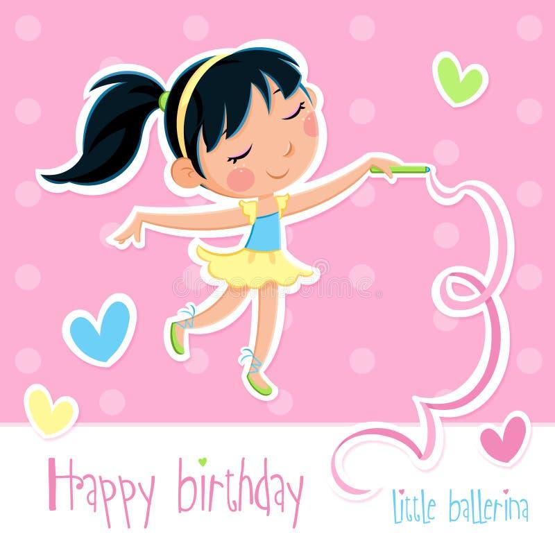 Поздравительая открытка ко дню рождения с днем рождений - прелестная маленькая девушка балерины - розовая предпосылка с точками и бесплатная иллюстрация