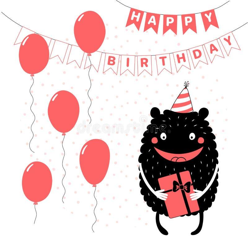 Поздравительая открытка ко дню рождения с милым смешным извергом иллюстрация вектора