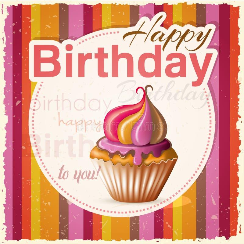 Поздравительая открытка ко дню рождения с пирожным и текстом стоковая фотография rf