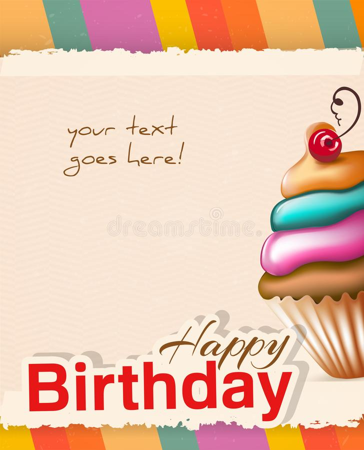 Поздравительая открытка ко дню рождения с пирожным и текстом стоковая фотография