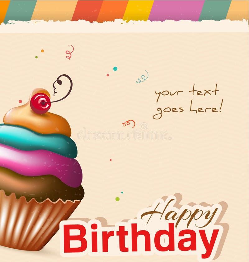 Поздравительая открытка ко дню рождения с пирожным и текстом стоковое изображение rf