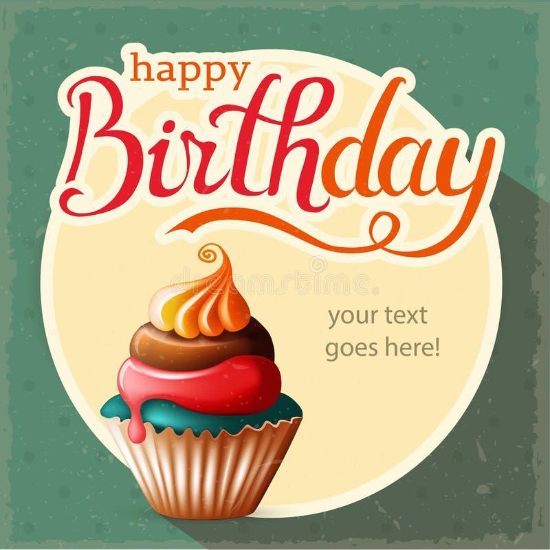 Поздравительая открытка ко дню рождения с пирожным и текстом стоковые фото